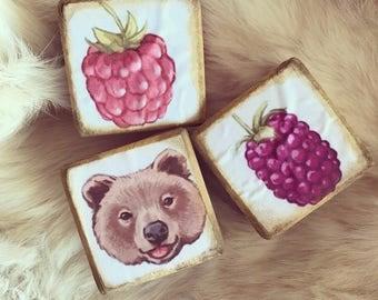 """Vintage cube Set """"Berry"""""""