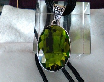 NEW Green Tourmaline Pendant statement display in sterling silver  lots of sparkle