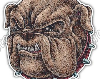 Bulldog Head Hell-Hound Boxer Dog Fight Car Bumper Vinyl Sticker Decal