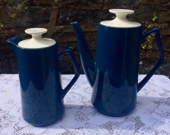 Retro / Vintage Blue & White Coffee Pot / Water jug pair by Beswick