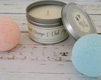Gift Set -8 oz Soy Candle and  (2) 3.5 oz Bath Bomb- Gifts under 20 - Pure Soy - Aromatherapy - Spa Like