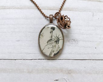 Liberty pendant - Lady liberty necklace - Stature of Liberty - Americana necklace - gift under 20 - GracieLouDesignsCo