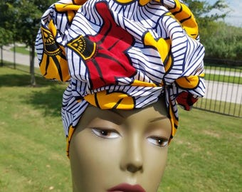 White, Yellow And Red African Headwrap;African Headwrap; African Clothing; African Fabric Headwrap; African Scarf: Headwrap; Head tie