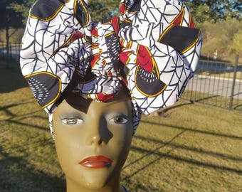 White, Black & Red Headwrap; African Headwrap; African Clothing; African Fabric; Headwrap; African Scarf; Headwrap; Head tie; Headband