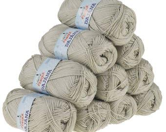 10 x 50 g knitting wool Dajana uni by VLNIKA, #456 grey beige