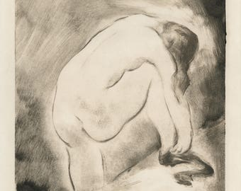 """RUDOLPH GROSSMAN (German, 1882-1941), """"Woman Putting on Stockings"""", 1925, monotype, pencil signed"""
