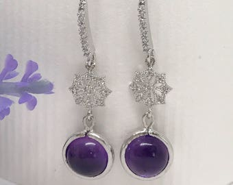 Filigree sterling silver and Amethyst dangle earring