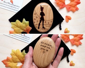 PETER PAN PEBBLE, Quote with Peter Pan on Wooden Pebble. 21st, 18th birthday, personalised gift for son or daughter, gift for Dad, Mum, Mom.