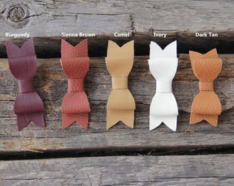 Faux leather bow hair clips; choose one hair clip