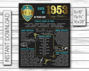 1953 Birthday Sign, 65th Birthday Party, 65th Birthday Poster, 65th Chalkboard, 65th Decor, Gift for 65th, Happy 65th Printable DIGITAL FILE