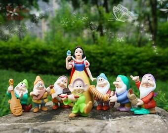 Snow White and the Seven Dwarfs Play Music , Fairies Miniature, Disney Studio Fairy Garden Supplies Succulent Terraium DIY Accessories