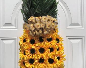 Pineapple Wreath, Sunflower Wreath, Aloha Wreath, Welcome Pineapple, Summer Wreath, Spring Wreath, Fruit Wreath