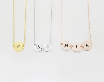 Initial Necklace, CN05-2L, Letter Necklace, Monogram Necklace, Name Necklace, Personalized Necklace, Coin Necklace, Bridesmaids Gift