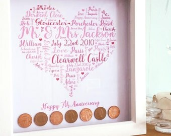 7 year anniversary, copper anniversary, wedding anniversay, home decor, typography, pennies, love, mr & mrs, wedding, married for 7 years