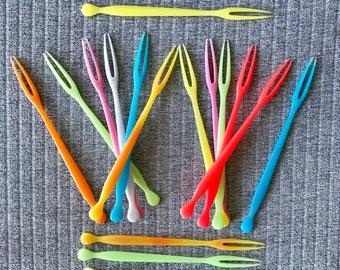 Set of 16 90s Acrylic Fondue Forks Multicoloured Retro Party
