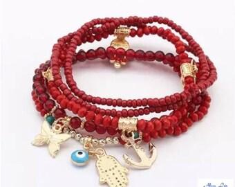 Beautiful Beaded Stacking Bracelets Elasticated (set of 6)