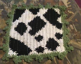 Crochet Cow Dishcloth/Pot Holder