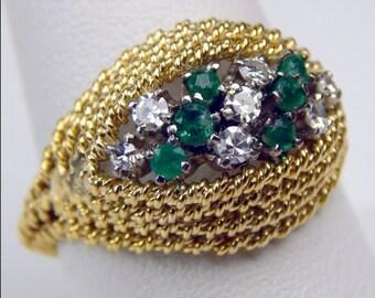 18k Gold emerald diamond ring #10065