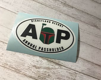 Boba Fett Disney Annual Pass | Annual Passholder Magnet  or Decal |inspired by Disney AP Magnet