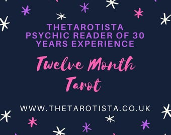 Twelve Month Brief Tarot Reading, by Email with Photos, by Reader of 30 years experience