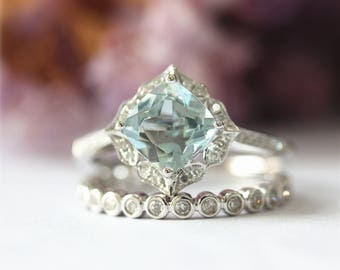 Vintage Style Aquamarine Engagement Ring 7mm Cushion Natural Aquamarine Ring Solid 14K White Gold Ring Wedding Ring Promise Ring Bridal set