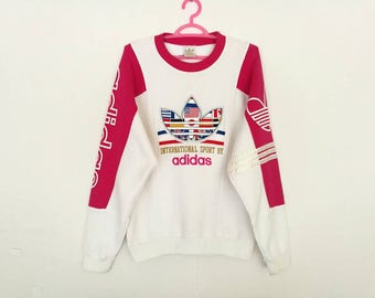 Rare!! Vintage Adidas Trefoil Big Logo Spellout Multicolor Embroidery Flag Pullover Jumper Sweatshirt