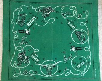 Rare Collectible Vintage Levi's Faded Green Cowboy Bandana Scarf with Selvedge Edge