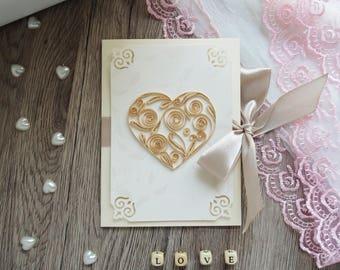 Wedding Card  Unique Card  Tender heart Card with love Heart Card with heart Greeting card