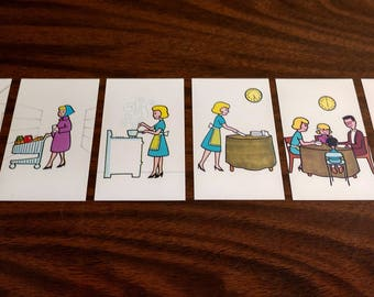 Vintage 1950's Housewife Sequence Cards