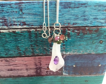 Rose quartz flower, amethyst and tourmaline pandant