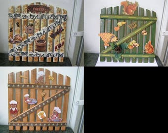 choice wall kitchen for utensils, fence, coffee themed, squirrel, gingerbread