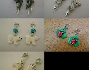 Choose earrings clip, dolphin, dog, bear, lady bug, horse
