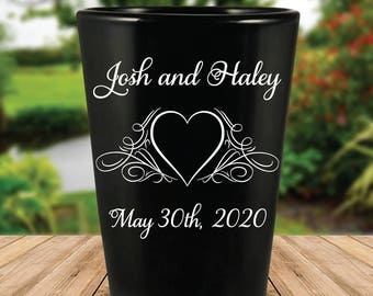 Custom Flourished Heart Wedding Favor Black Shot Glasses