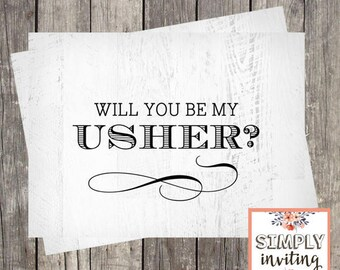 Will You Be My Usher, Printed Note Card, Bridal Party Ask Card, Wedding Party Card, Bridal Proposal Card, Rustic Wood, Groomsmen Card