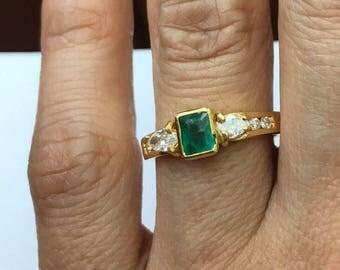 Emerald diamond  engagement ring, Natural Emerald,18k yellow gold.