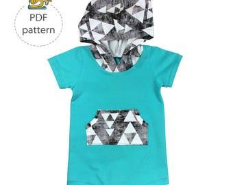 Baby romper sewing pattern, hooded romper pattern, digital sewing pattern, pfd patterns, toddler pattern, summer playsuit sewing