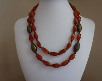 Carnelian and Bronzite Multistrand Necklace