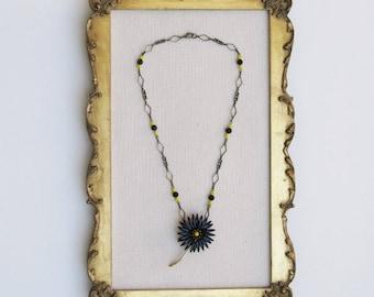 Vintage Black Bloom Necklace