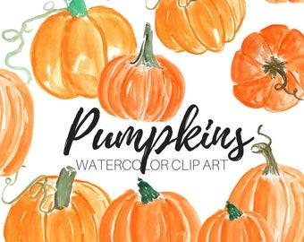 Watercolor clip art - Pumpkin clip art - Fall Clip Art- Halloween Clip Art- Commercial Use