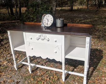 SOLD... Ready to Ship.1930's Antique Vintage Sideboard Buffet Shabby Chic Farmhouse French Cottage Kitchen dining Entry living furniture