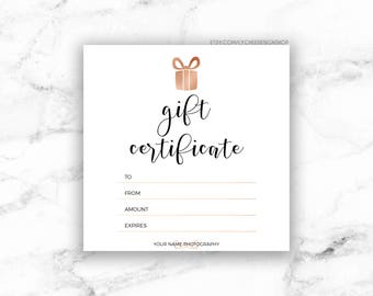Photography gift certificate template gift card design photo printable rose gold gift certificate template editable photography studio gift card design photoshop template yelopaper Images