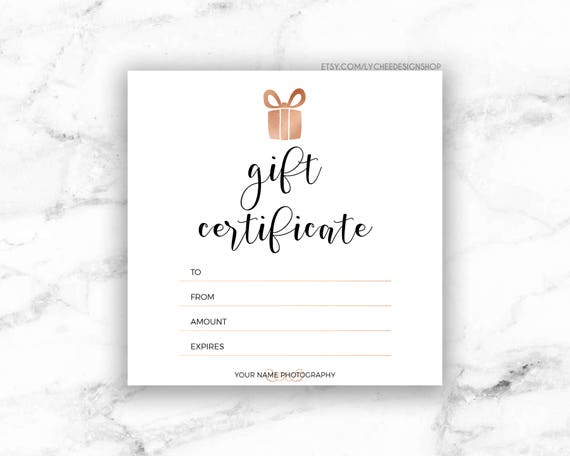 Printable Rose Gold Gift Certificate Template | Editable Photography Studio  Gift Card Design | Photoshop Template PSD | INSTANT DOWNLOAD  Editable Gift Certificate Template