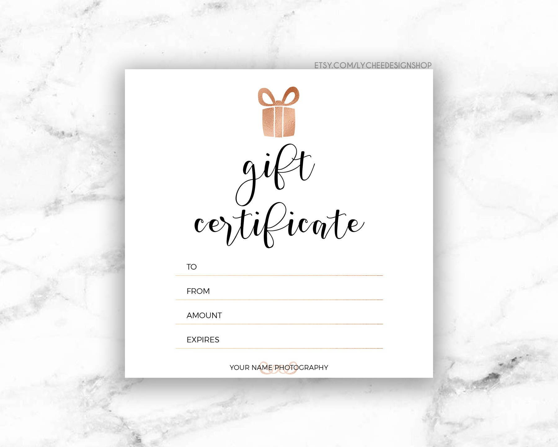 Printable rose gold gift certificate template editable zoom yadclub Gallery