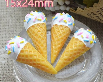 50pcs/pack 15x24mm resin ice cream dessert Flat back decoration,Ice cream cone free shipping