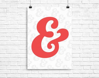 Red Ampersand Poster - A2