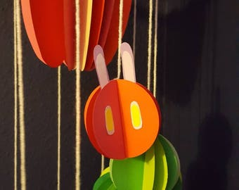 The Very Hungry Caterpillar Mobile. Handmade Paper Mobile.