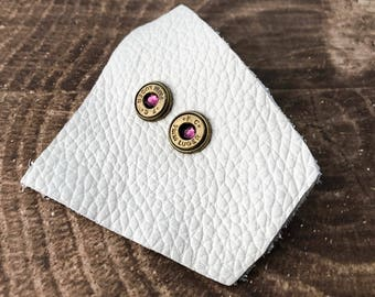 Amethyst and Brass Swarovski Bullet Stud Earrings