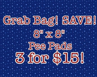 """Grab Bag--(3) 8""""x8"""" Pee Pads for Guinea Pigs, Hedgehogs, and Other Small Pets!"""