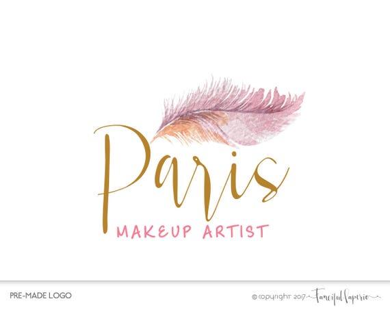 Premade Logo Design Makeup Artist Logo Feather Logo Boho
