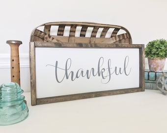 Thankful Sign, Fall Decoration, Thanksgiving Decor, Autumn Decor, Farmhouses Style, Dining Room Decor